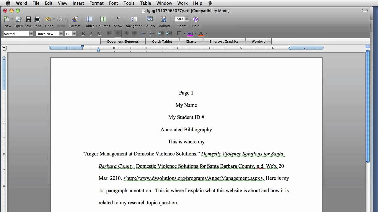 annotated bibliography apa style websites