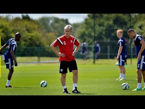 Exclusive footage of Alan Irvine's first training session as head coach of West Bromwich Albion