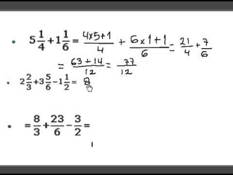 Operaciones Números Mixtos fracciones