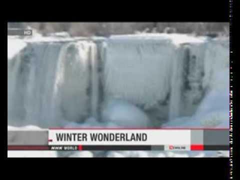 Cascades of ice as Niagara Falls freezes