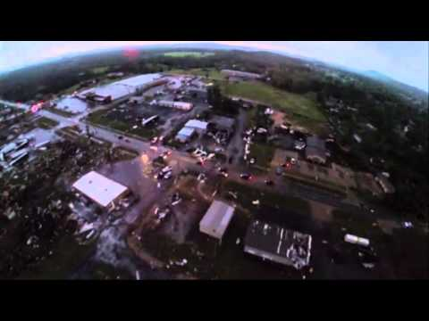Raw: Aerial View of Arkansas Tornado Damage