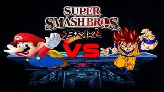 Super Smash Bros. Brawl Goku (SSJ God Hair) Vs Mario (SMBZ