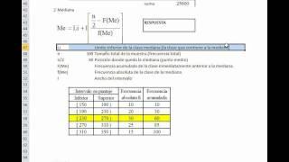 Calcular Con EXCEL Medidas De Tendencia Central Y