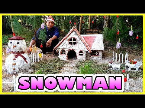 Primitive Technology: Build a Mud Snowman! DECORATE FOR CHRISTMAS 2019! Funny Christmas 2019