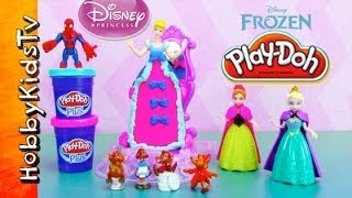 Cinderella PLAY-DOH Dress Spin! Elsa, Anna, Spiderman
