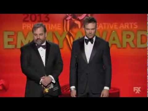 Dan Harmon and Joel McHale at the Creative Arts Emmys 2013