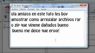 Como Arreglar Archivos Dañados De Rar O Zip ( 2012