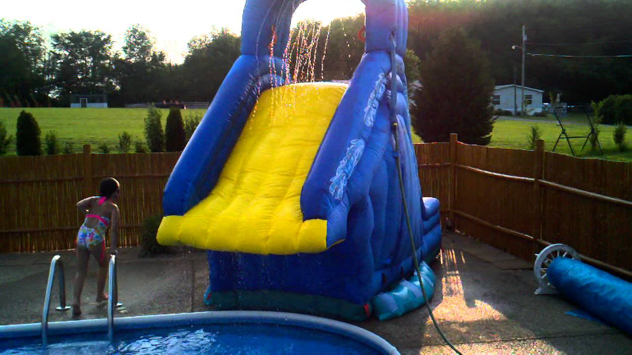 Crazy Fun On The Inflatable Banzai Blaster Pool Slide In Ground Pool Youtube
