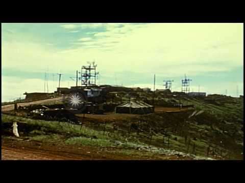 Radio antennas and towers at US 4th Infantry Division headquarters in Vietnam dur...HD Stock Footage