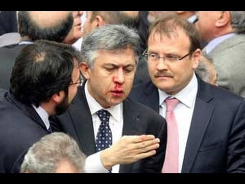 Fight in Turkish parliament send four members to hospital !