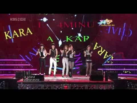 [HQ] KARA +4Minute +T Ara +Chae Yeon Two of us @ Music Bank  090814