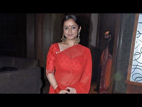 divya dutta dazzling in red hot transparent saree.