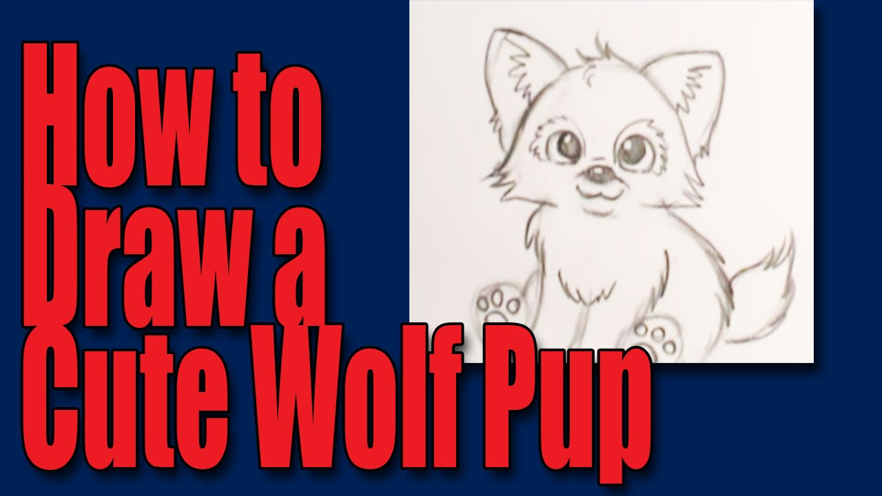 How to draw a cartoon wolfpup - YouTube
