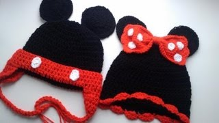 Crochet Cap Puff Stitch Minnie Mouse Mickey Hat Beanie