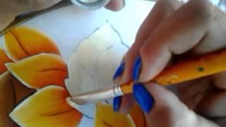 Pintando Jirasol Hoja Y Centro Con Cony