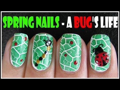SPRING NAILS A BUGS LIFE NAIL ART TUTORIAL | LEAF KONAD STAMPING DESIGN FOR BEGINNERS LADY BUG