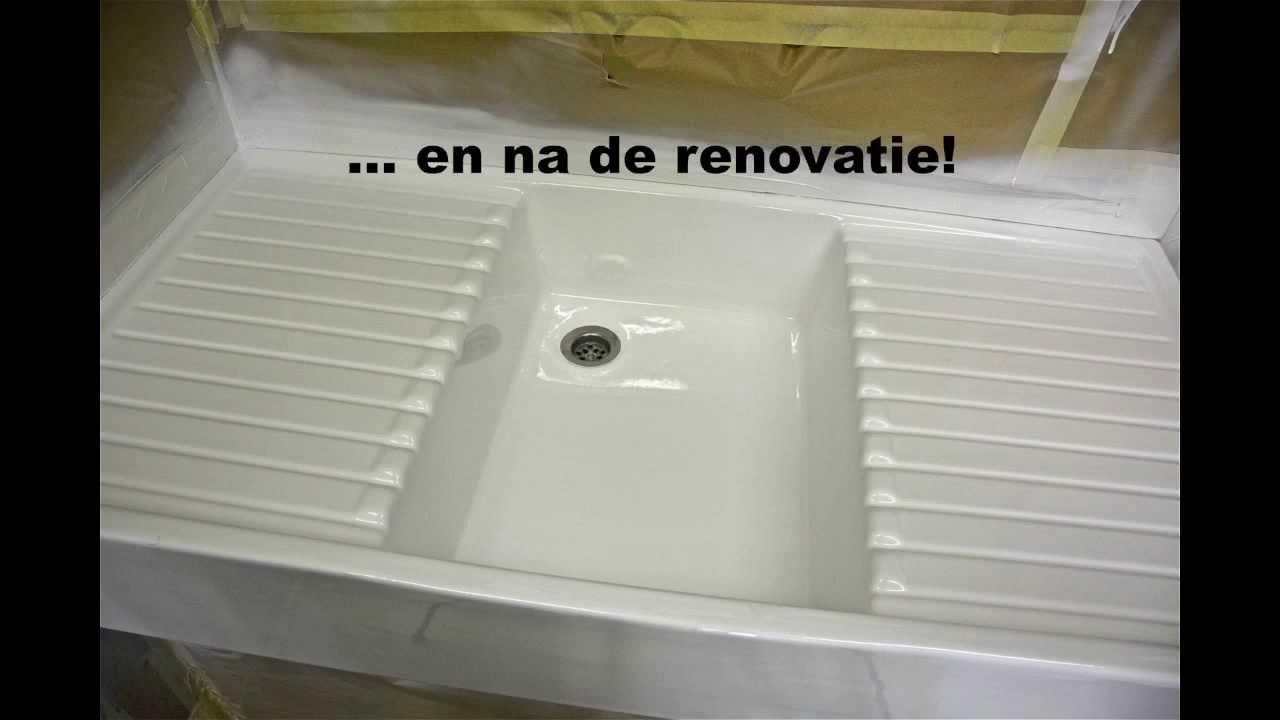Renovatie van versleten sanitair badkuip douchebak wastafel wandtegels vloertegels youtube - Sanitair opknappen ...