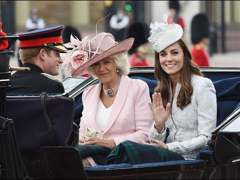 Duchess of Cambridge, Duchess of Cornwall and Prince Harry travel by carriage:Trooping the Colour