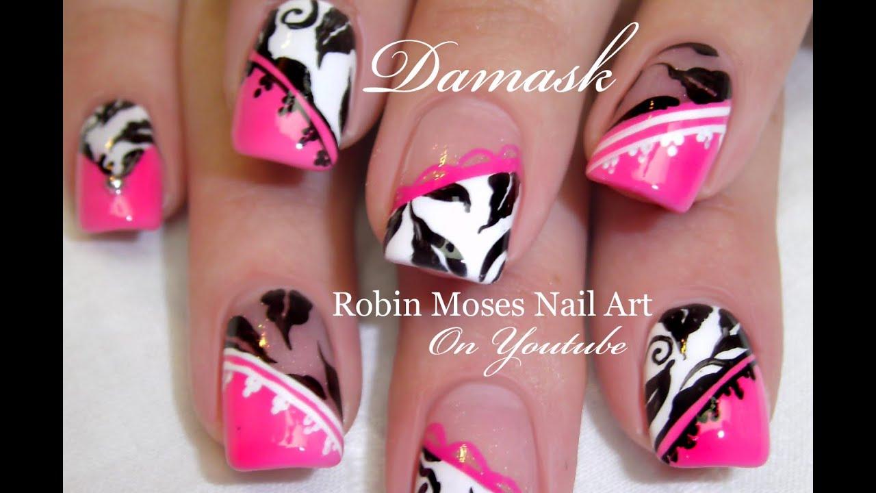 Nail Art Tutorials | Easy DIY Nail Art | Damask Nails Design - YouTube