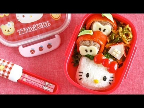 how to make hello kitty bento lunch box kyaraben recipe cute food video. Black Bedroom Furniture Sets. Home Design Ideas
