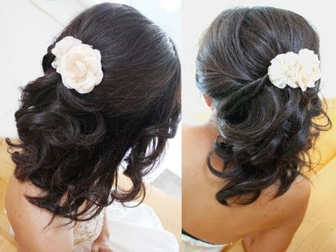 Elegant Half Updo Hairstyle for Short Hair Tutorial for Weddings Prom