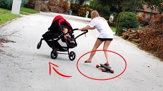 Riding Electric Skateboard While Pushing A Stroller! (Bad Idea)