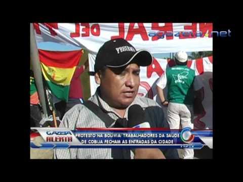 Protesto na Bolívia trabalhadores da saúde de cobija fecham as entradas da cidade