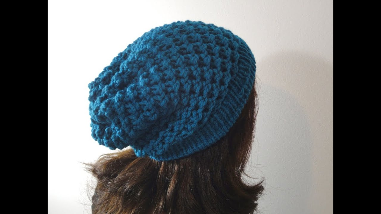 Knitting A Hat On A Round Loom : How to loom knit a slouchy beanie hat diy tutorial youtube