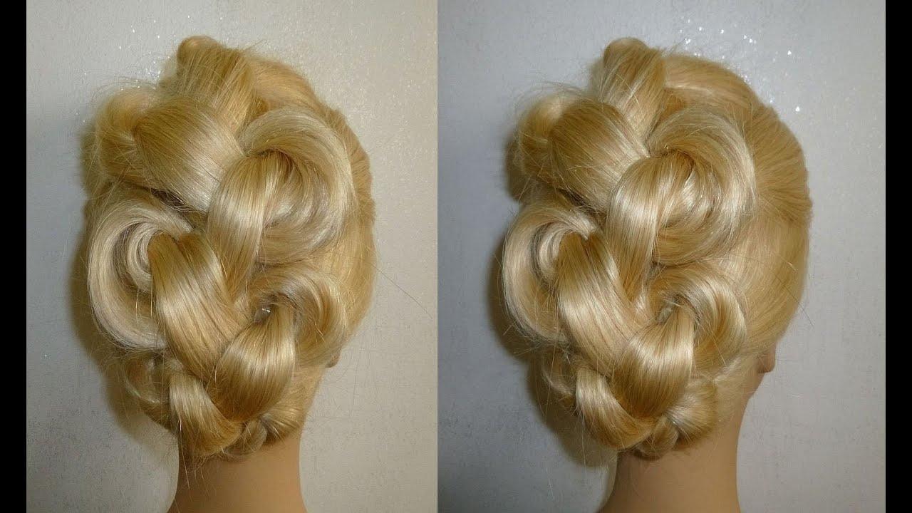 easy frisuren zopffrisur flechtfrisur hochsteckfrisur braided high bun hairstyles peinados youtube. Black Bedroom Furniture Sets. Home Design Ideas