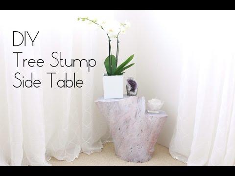 DIY Tree Stump Side Table