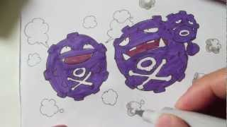 How To Draw Pokemon: No. 109 Koffing, No.110 Weezing