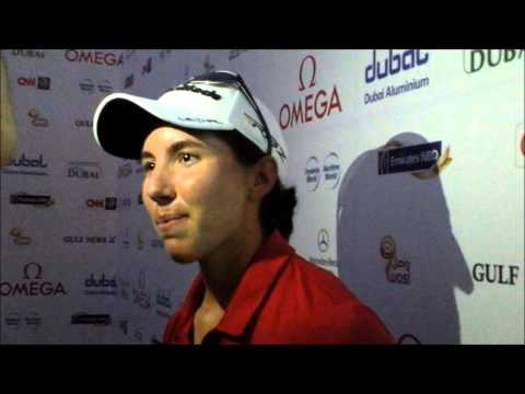 Carlota Ciganda after her first round at the 2013 Omega Dubai Ladies Masters