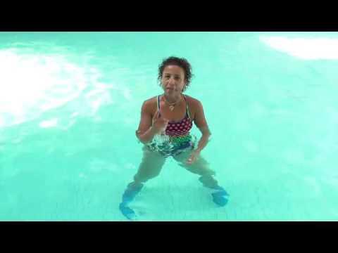 Aqua aerobics exercise shallow arm swirl