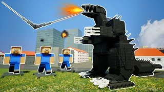 LEGO GODZILLA VS MINECRAFT STEVE ARMY! - Brick Rigs Gameplay Challenge & Creations