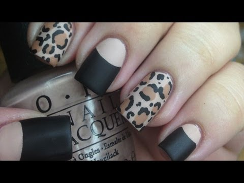 Matte Leopard Nail Tutorial and Halfmoon Manicure,