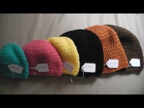 Gorro simple a crochet en punto alto (diferentes tallas)