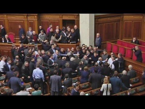 Ukraine protests: Fight breaks out between politicians in parliament