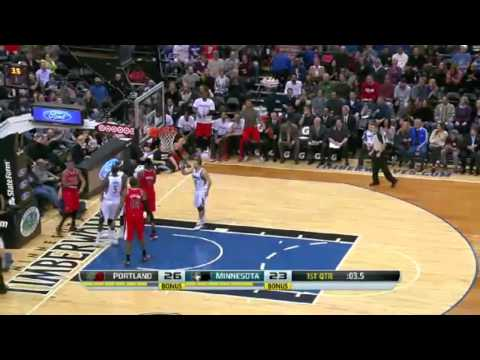 Cunningham's Chase down Block   Trail Blazers vs Timberwolves   February 8, 2014   NBA 2013 14