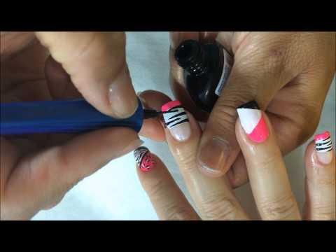 como hacer  Decorado de uñas paso a paso en colores con animals print en estilo zebra  OLNAIL