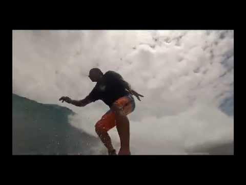 Surfing the Santa Cruz Surfboards Pumpkin Seed at Soup Bowl in Barbados April 2014