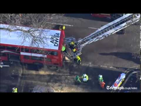 Kennington Road bus crash: aerial footage of scene