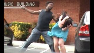 Stupid guy hits girlfriend!