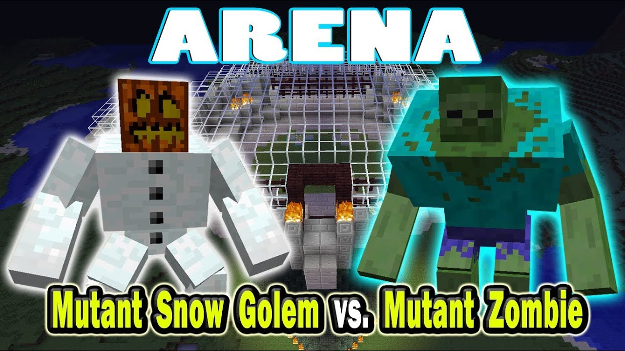 Minecraft Arena Battle Mutant Snow Golem vs. Mutant Zombie ...