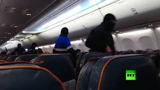 لحظة اعتقال الخاطف من داخل الطائرة الروسية