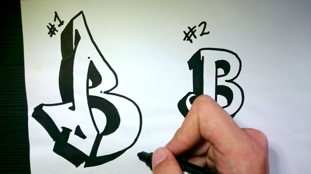 """How to Draw Graffiti Letter """"B"""" on Paper - YouTube"""