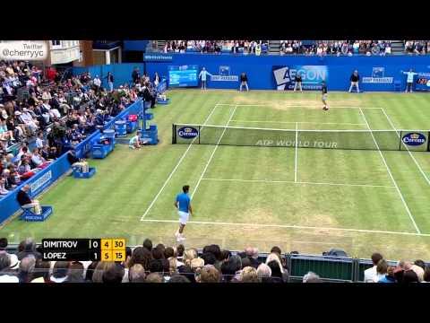 2014 Queen's Club Final Grigor Dimitrov vs Feliciano Lopez (Sharapova Attending) Extended Highlights