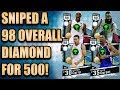 THE SNIPE GOD SNIPES A 98 DIAMOND FOR 500 MT NBA 2K17 Top 5 Snipes of the Week