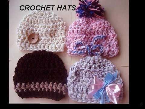 Crochet Patterns In Youtube : ... pattern, CHUNKY BABY BEANIE HATS, baby hat crochet pattern - YouTube