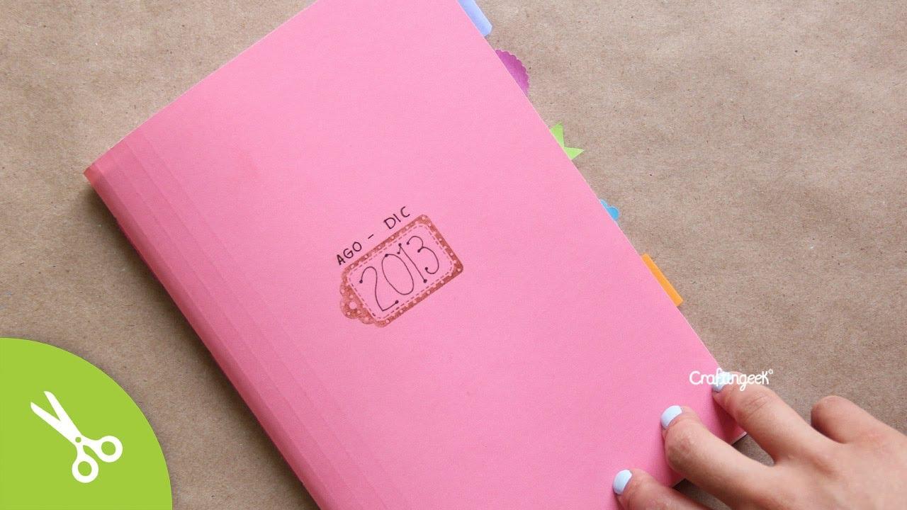 Haz tu propia agenda libreta encuadernado b sico back2school youtube - Como decorar una agenda ...