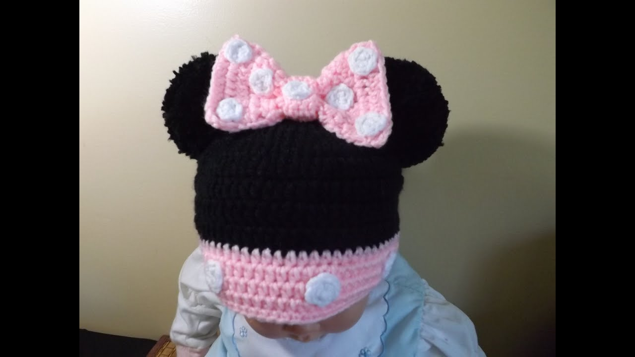 Crochet Youtube : Crochet Minnie Mouse Hat - YouTube